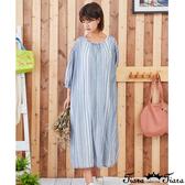 【Tiara Tiara】百貨同步新品ss  領口打摺條紋洋裝(米白/灰藍)
