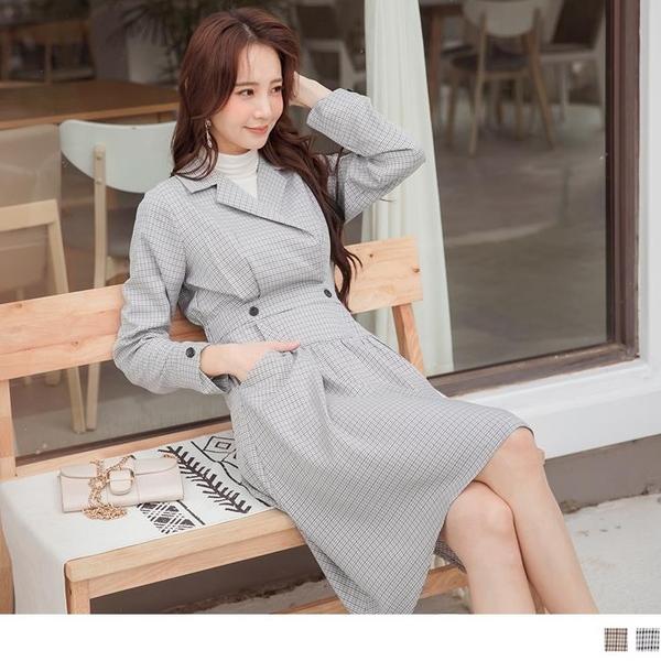 《DA8107-》優雅千鳥格紋口袋高腰造型剪接傘襬洋裝 OB嚴選