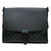 LOUIS VUITTON LV 路易威登 黑藍棋盤格掀蓋斜背包 Newport Messenger MM【BRAND OFF】
