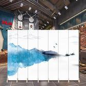 屏風 定制實木客廳酒店臥室辦公室折疊屏風現代中式時尚山水墨隔斷折屏