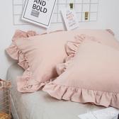 粉紅色枕套 日式泡泡紗荷葉花邊純色女生純色 四季韓版公主48*74一對裝 DR21635【男人與流行】