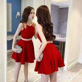 2018夏季新款簡約時尚無袖高腰純色甜美百搭潮女氣質紅色女吊帶洋裝 ZJ1602 【大尺碼女王】