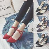 綁帶涼鞋 韓版秋季尖頭高跟鞋女粗跟中跟一字扣綁帶女單鞋紅色婚鞋女鞋 果果輕時尚