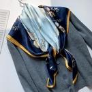 小絲巾女大方巾百搭春秋冬季搭配西裝大衣紗巾媽媽薄圍巾90x90cm一米
