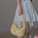 熱賣腋下包 小眾設計嫩黃色褶皺包柔軟腋下包包女2021春夏新款個性側背手提包 coco
