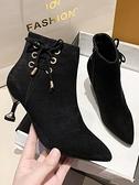 細跟靴時裝靴女冬加絨2021年新款貓跟高跟瘦瘦鞋子時尚尖頭細跟及裸短靴 芊墨左岸