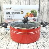 晶瓚 彩虹不沾湯鍋組 24cm火鍋 附玻璃蓋 湯鍋 調理鍋 鍋子