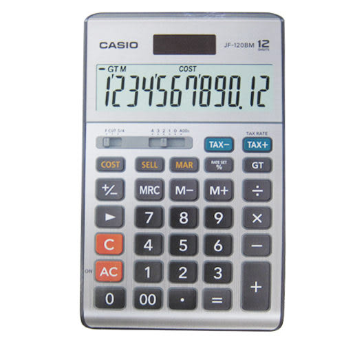 【奇奇文具】【卡西歐CASIO】JF-120BM 太陽能稅率計算機 12位