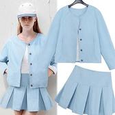 ENTER 長袖裙裝 天藍排釦長袖外套百摺短裙套裝【GO2535】