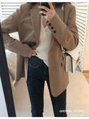 2019春秋新款韓版休閒小西裝外套女寬鬆ins中長款chic長袖西服潮