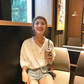 蕾絲花邊V領燈籠袖小清新娃娃衫襯衫上衣女夏    韓小姐