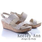 ★2018春夏★Keeley Ann設計美學~竹葉繩紋造型寬帶全真皮楔形涼鞋(米色)