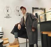 2018流行大衣男冬季韓版落肩中長款外套寬鬆毛呢加厚風衣ins學院  初見居家