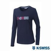 K-SWISS Long Sleeve T-Shirts印花長袖T恤-女-藍