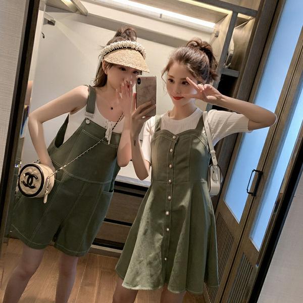 閨蜜連身裝 抹茶綠 大尺碼連身裙 收腰顯瘦 甜美吊帶裙 姐妹裝背帶褲 快速出貨