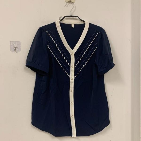 新款設計感小眾V領短袖上衣寬鬆洋氣襯衫雪紡衫(XL號/777-10469)