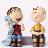 Enesco Peanuts SNOOPY史努比 查理布朗與萊納斯塑像_EN87778