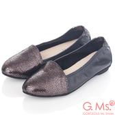 G.Ms.* MIT系列-全真皮尖頭金屬爆裂紋懶人鞋-銀灰