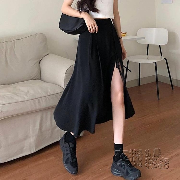 黑色開叉半身裙女夏季新款設計感高腰A字中長裙小個子裙子ins 衣櫥秘密