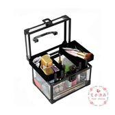 大容量便攜鋁合金化妝箱 手提多層專業透明帶鎖美甲美睫紋繡工具箱