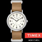 TIMEX 天美時 數字淺咖啡色皮帶錶 38mm焦糖米白 夜光冷光面板 TXT2P492 公司貨 | 名人鐘錶高雄門市