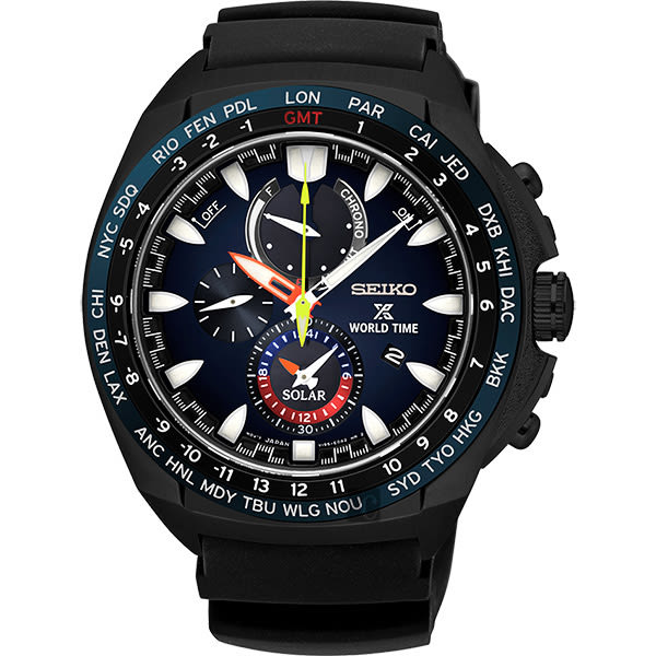 SEIKO 精工 PROSPEX 海世界計時碼錶-黑/44mm V195-0AB0SD(SSC551P1)