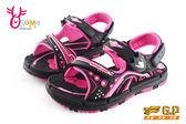 GP涼鞋 中大童 排水設計 磁扣兩穿運動防水涼鞋I6687#黑桃◆OSOME奧森童鞋