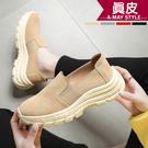 真皮-修飾小心機懶人休閒鞋【XE856363】 鞋型修飾腿部設計 大底舒適柔軟好穿