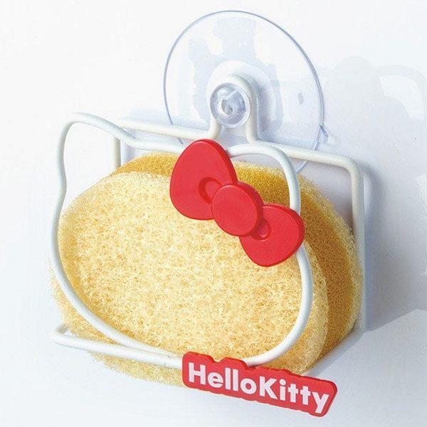 正版授權凱蒂貓 HELLO KITTY 不鏽鋼造型吸盤式海綿架