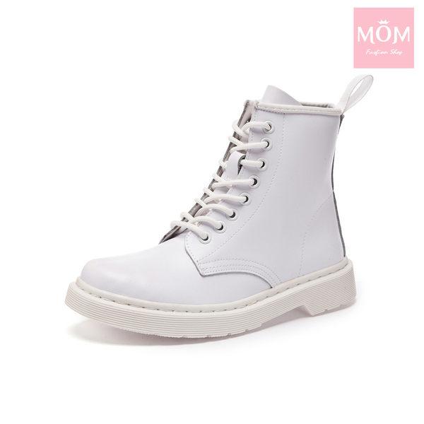 歐美經典款8孔綁帶真皮馬丁靴 短靴 工程靴 純白 *MOM*