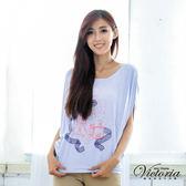 Victoria 香水印花飛鼠袖TEE-女-藍紫