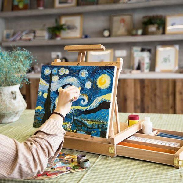 蒙瑪特 木制水彩桌面畫架收納素描寫生實木摺疊油畫架子台式繪畫架 生活樂事館