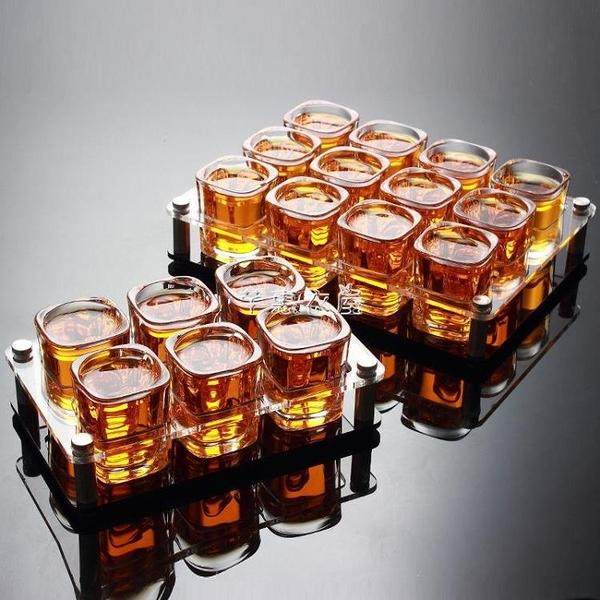 玻璃白酒杯子彈杯套裝6酒杯12只裝托盤架子洋酒杯家用小號一口杯 快速出貨