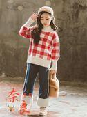 女童毛衣牛仔褲套裝秋冬時髦洋氣加厚兩件套潮【奈良優品】