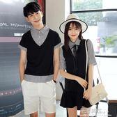 韓版假兩件連身裙女裙條紋短袖T恤衫男學生潮·花漾美衣