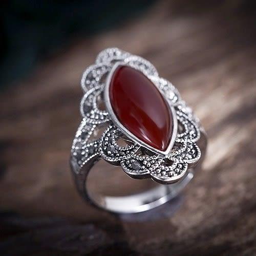 戒指歐美復古民族風泰銀人工紅瑪瑙紅寶石女 時尚百搭禮物中指 【好康八九折】