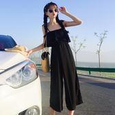 夏季新款女裝性感露肩寬鬆顯瘦學生無袖吊帶連身九分直筒闊腿褲【萬聖節鉅惠】