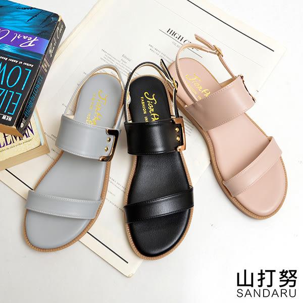 寬版側釦飾平底涼鞋