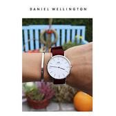 DW手錶 官方旗艦店 36mm銀框 Classic 玫瑰紅織紋錶帶 - Daniel Wellington