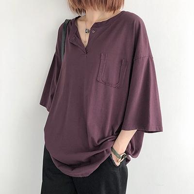 V領短袖上衣 純棉T恤女 寬鬆休閒T恤/4色-夢想家-0330