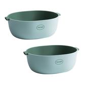 (組)簡約雙層 瀝水籃/洗菜籃-湖水綠-L (2入組)