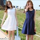 夏季新款 韓版大碼 女裝 棉麻時尚 連衣裙 休閒小清新 無袖背心裙子
