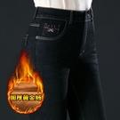 清倉特惠 秋冬加絨加厚全泡樹脂牛仔褲高腰顯瘦中年媽媽彈力大碼鉛筆小腳褲