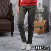 【JEEP】女裝 窄管修身休閒長褲 (橄欖綠)