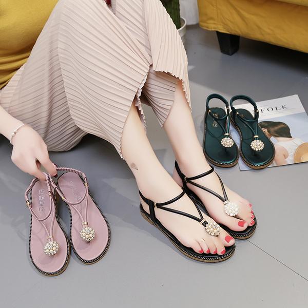 珍珠夾腳涼鞋女夏平底簡約百搭學生人字涼拖水鑽平跟鞋