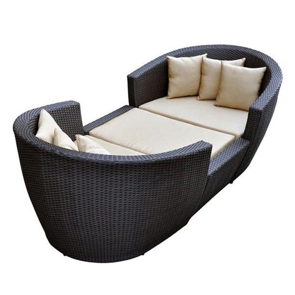 戶外躺椅室外陽台露天花園庭院藤編躺床陽光房沙灘藤椅人躺窩沙發 艾瑞斯「快速出貨」
