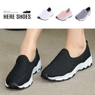 [Here Shoes]懶人鞋-水鑽休閒舒適跟高4cm百搭純色款懶人鞋休閒鞋-ANN-106