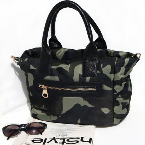 【O'FiFi】可愛風鋪棉媽媽包 空氣包 手提包 斜背包(迷彩)