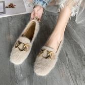 毛毛鞋女新款冬季韓版百搭平底加絨一腳蹬奶奶豆豆鞋女冬外穿 韓國時尚週