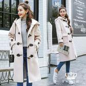 毛呢外套 牛角扣秋冬韓版新款女學生連帽時尚加厚保暖大衣